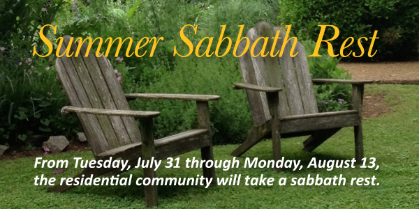 Richmond Hill is taking Sabbath rest from July 31 to August 13.
